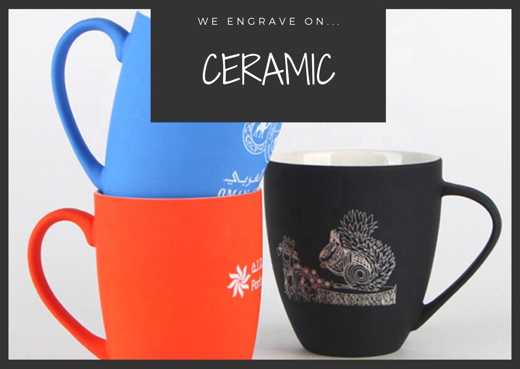 Ceramic mugs engraved