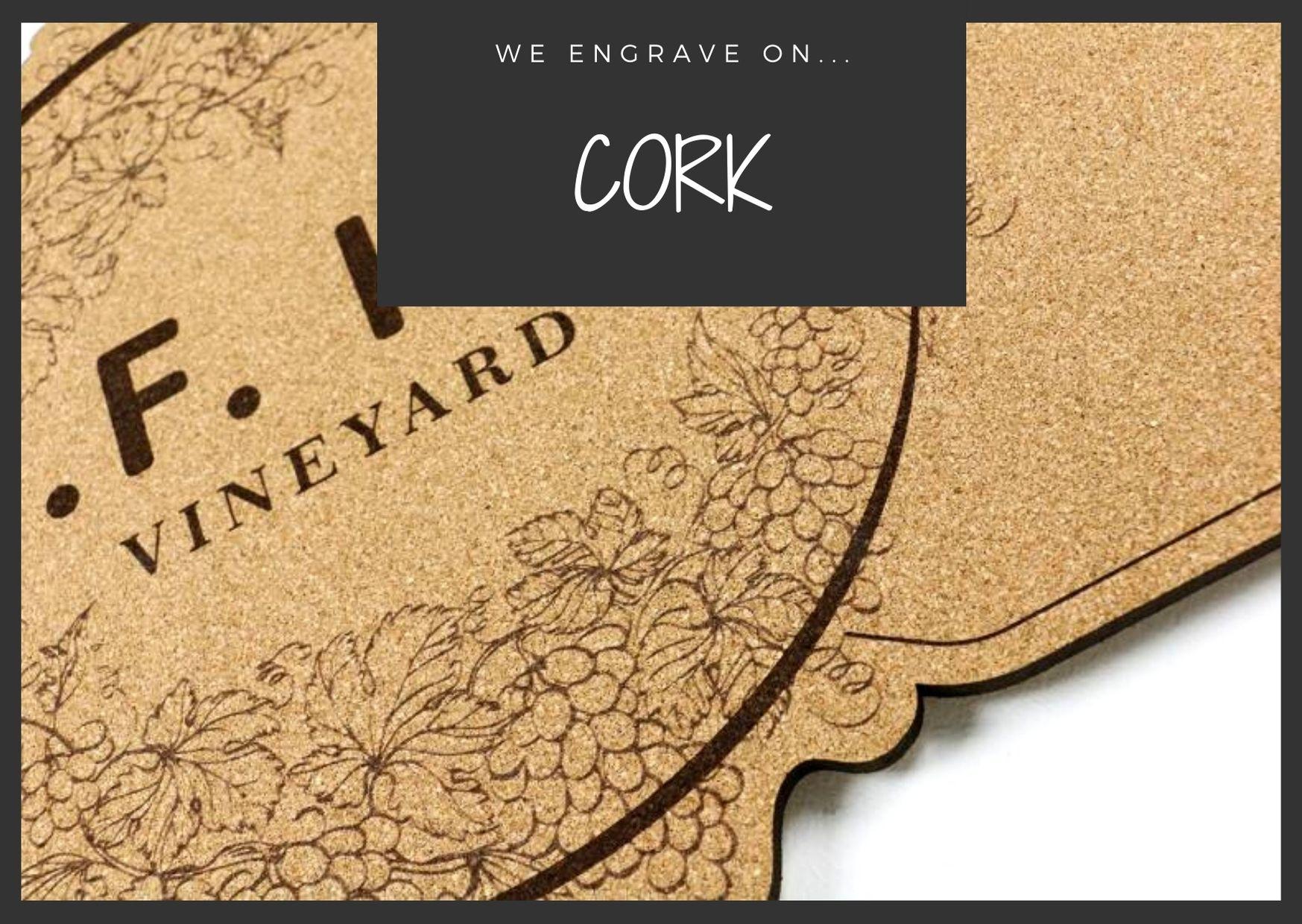 Engraving on cork